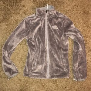 Faux fur fuzzy gray The North Face zip jacket